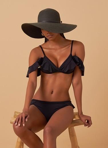 Loves You Volan Detaylı Askılı Bikini Siyah